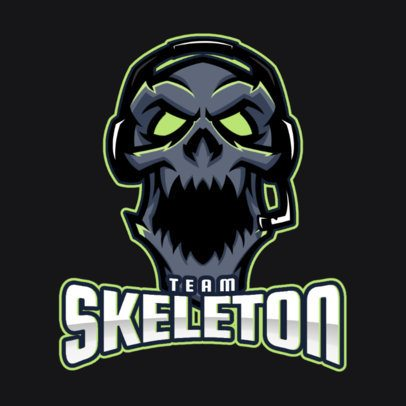 Gaming Logo Generator Featuring a Spooky Skeleton Illustration 2455ii-2858