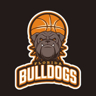 Basketball Team Logo Maker with a Bulldog Clipart 21s-2860