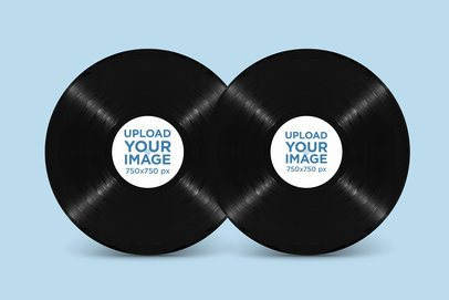 Mockup of Two Vinyl Records Against a Customizable Background 2348-el1