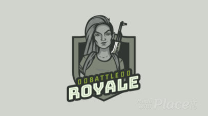 Animated Battle Royale Game Logo Maker of a Fierce Woman 1847h