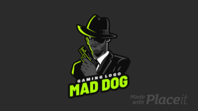 Animated Gaming Logo Maker Featuring a Mafia Gangster Holding a Gun 1847j 2290