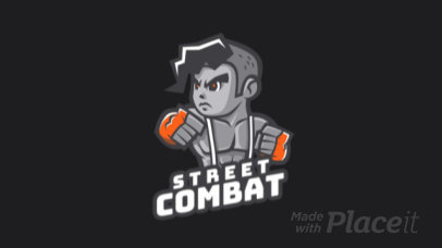 Animated Gaming Logo Template Featuring a Street Combat Character 1872a
