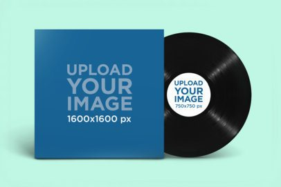 Mockup of a Vinyl Record Against a Customizable Background 2349-el1