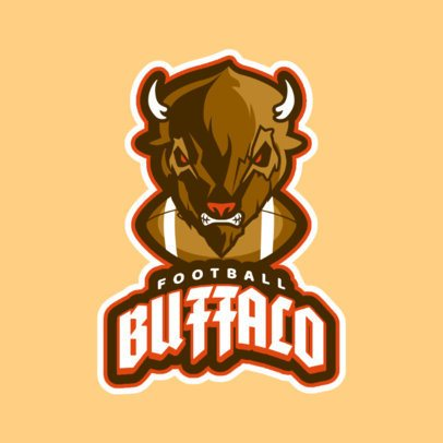 Sports Logo Maker for a Football Team with a Buffalo Graphic a21t 2856