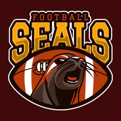 Sports Logo Template for a Football Team with an Aggressive Seal Graphic 120r-2856