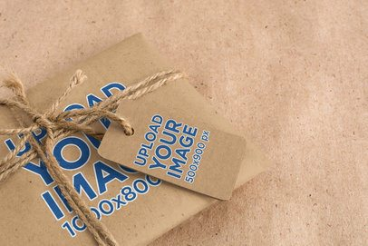 Mockup of a Cardboard Brand Tag on a Kraft-Paper Package 1301-el1