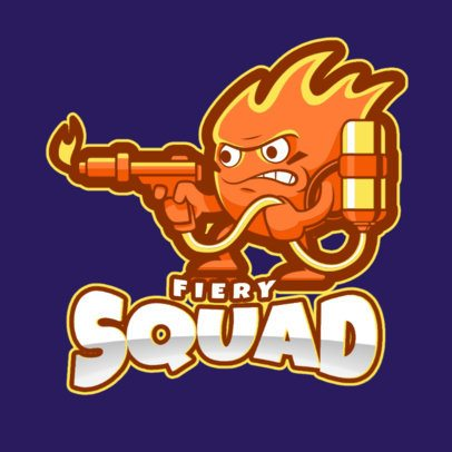 Logo Maker with a Fire Character for a Gaming Squad 1750z-2859