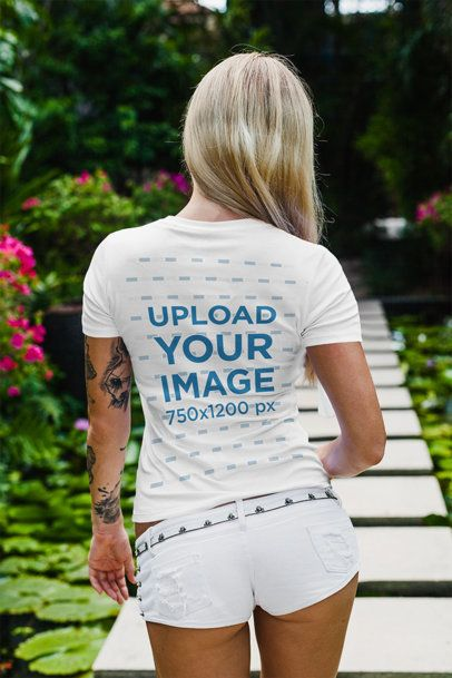 Back View Mockup of a Long-Haired Woman Wearing a T-Shirt 2252-el1