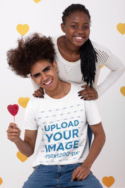 T-Shirt Mockup of a Smiling Couple at a Valentine's Day Scenario 31225
