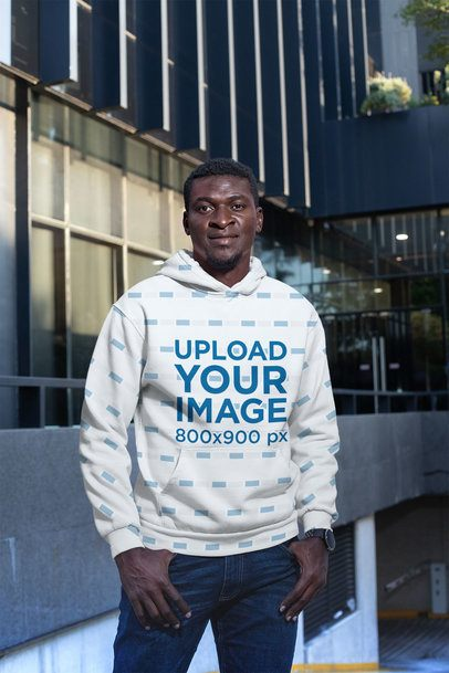 Pullover Hoodie Mockup Featuring a Man in an Urban Scenario 31384