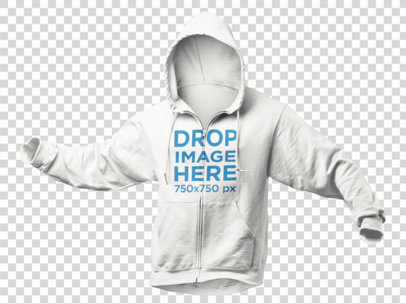 Invisible Model Hoodie Mockup Over a PNG Background a9137