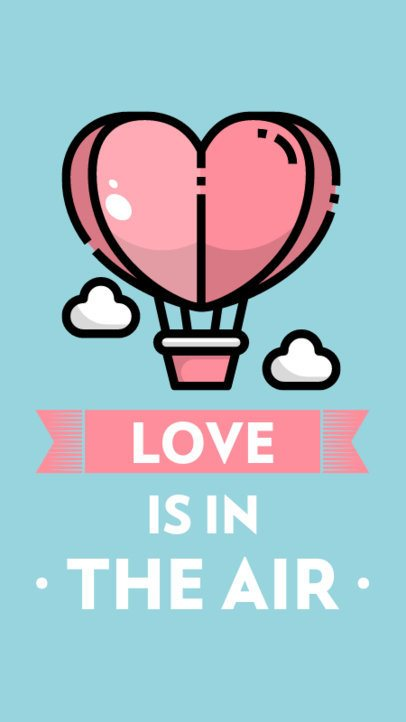 Illustrated Instagram Story Template Featuring a Heart-Shaped Hot Air Balloon 555a-el1