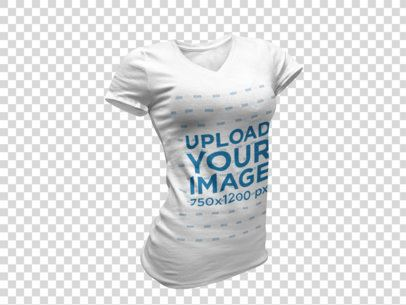 Women's V-Neck Tee Invisible Model Mockup 10657