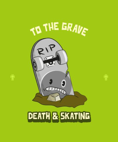 T-Shirt Design Template with a Skateboard Illustration 2135c