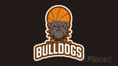 Basketball Team Animated Logo Maker with a Bulldog Clipart 21s-2860