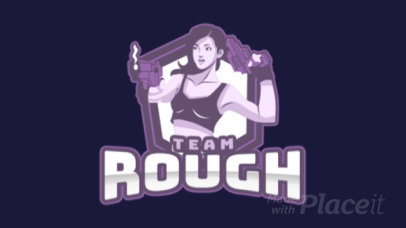Animated Gaming Logo Maker Featuring an Illustrated Female Shooter 1744f-2858