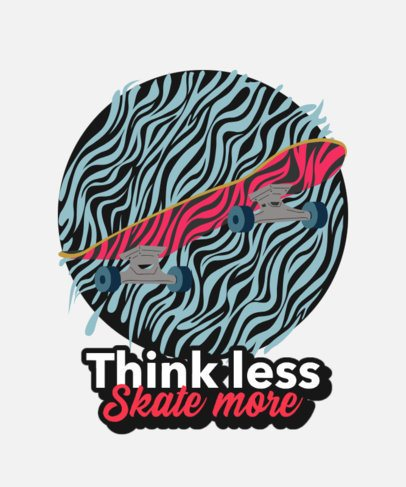 Streetwear T-Shirt Design Template with a Skateboard Graphic 2136e