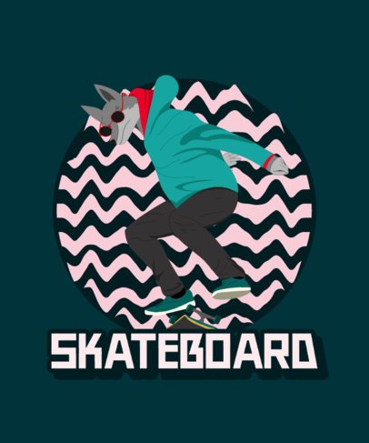 T-Shirt Design Template Featuring a Cartoon Animal Skating 2136f