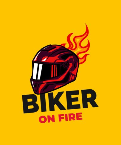 Bikers T-Shirt Design Template with a Flaming Helmet Graphic 2133f