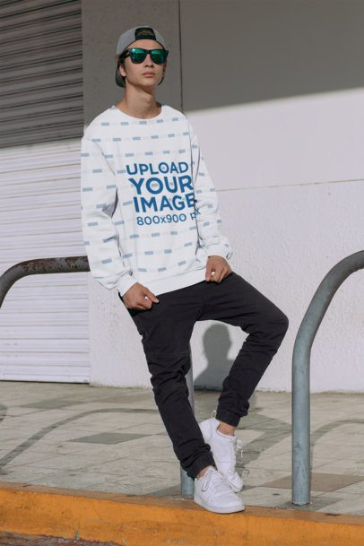 Sublimated Sweatshirt Mockup of a Stylish Man on a Street 31127