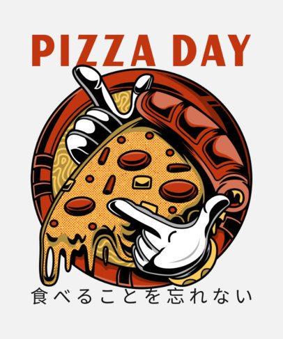 T-Shirt Design Template with a Crazy Pizza Cartoon Character 37l-214-el1