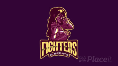 Animated Fighting Gaming Logo Maker Featuring a Female Character 383w-2284