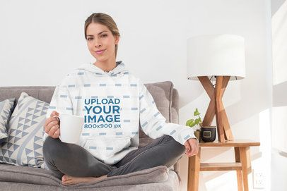 Sublimated Pullover Hoodie Mockup Featuring a Woman at Home 31247