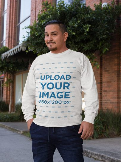 Mockup of a Man Wearing a Plus Size Long Sleeve Tee 31058