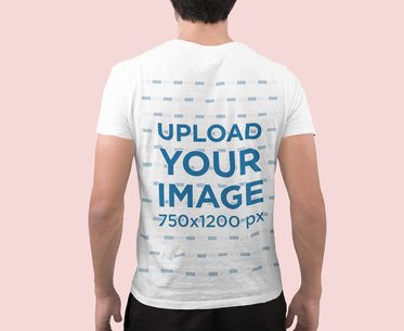 Back View T-Shirt Mockup Featuring a Man in a Studio Setting 2368-el1