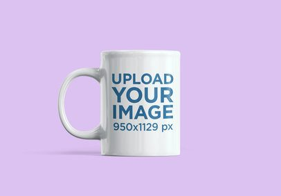Minimalistic Mockup of an 11 oz Mug with a Customizable Background 2377-el1