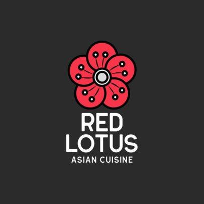 Asian Cuisine Restaurant Logo Template Featuring a Flower Clipart 599c-el1