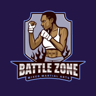 MMA Sports Logo Maker Featuring a Female Fighter Graphic 2852j