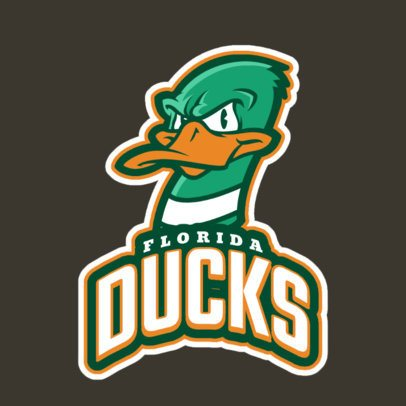 Mascot Logo Generator for a Sports Team Featuring a Duck Clipart 21mm-2883