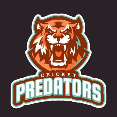 Cricket Logo Template Featuring a Roaring Tigers Face 1651g-2880