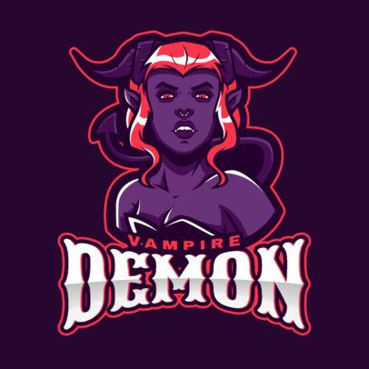 Gaming Logo Template Featuring a Female Demon Vampire Illustration 2499ll-2889