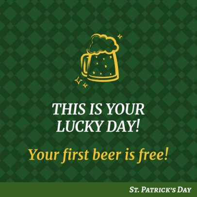 St Patrick's Day-Themed Facebook Post Maker with a Beer Icon 2181a