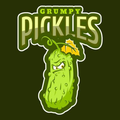 Illustrated Logo Template Featuring a Grumpy Pickle a484l-2888