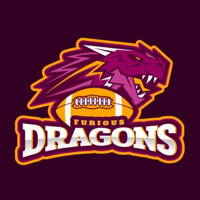 Football Logo Maker Featuring a Furious Dragon 1748l-2888