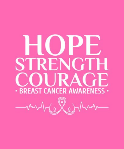 Breast Cancer Awareness T-Shirt Design Template with a Ribbon Clipart and a Quote 2165g