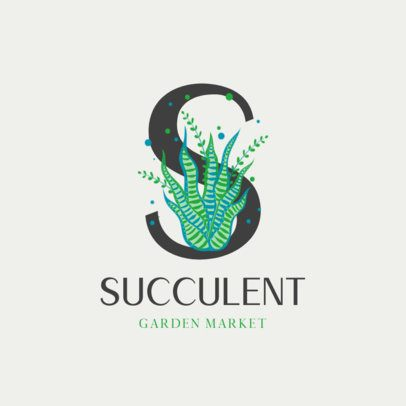Succulent Store Logo Generator Featuring Capital Letters with Botanical Illustrations 2840a