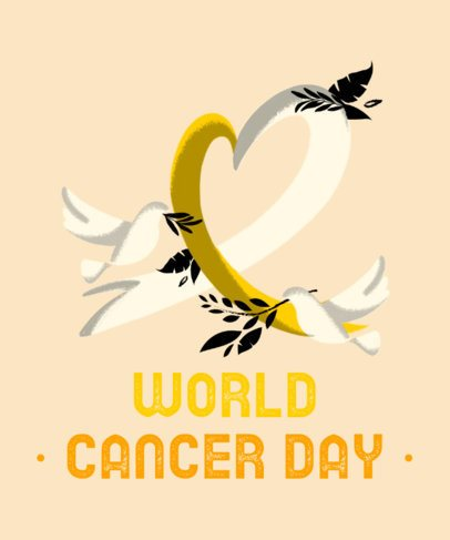 World Cancer Day T-Shirt Design Generator with Doves Clipart 2164e