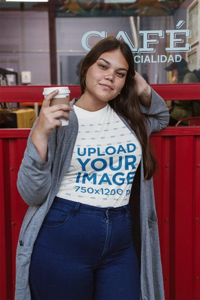 Plus Size Tee Mockup of a Relaxed Woman Wearing a Long Coat 30971