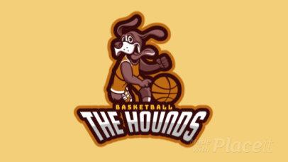Animated Basketball Team Logo Maker Featuring a Dog Cartoon 336l-2882