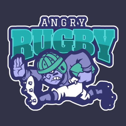 Sports Logo Generator Featuring an Angry Rugby Player 1619i-2883