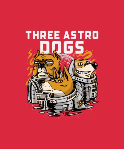 T-Shirt Design Maker with the Illustration of Three Astronaut Dogs 234g-el1
