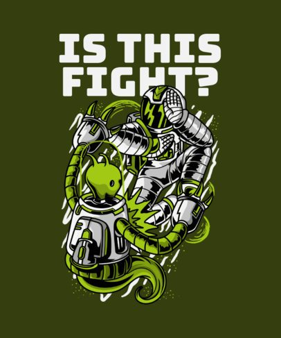 T-Shirt Design Creator Featuring an Astronaut Fighting an Alien 234h-el1
