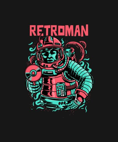 T-Shirt Design Maker with a Retro Illustration of a Brave Astronaut 234j-el1