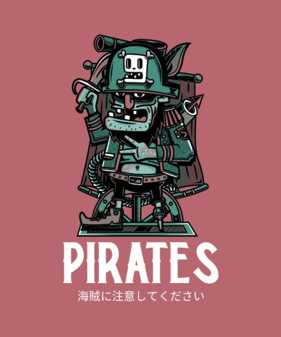 T-Shirt Design Maker Featuring an Eccentric Pirate 244c-el1