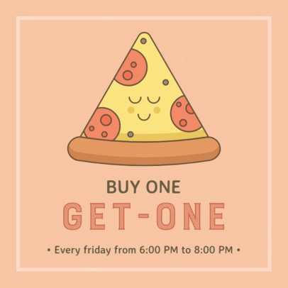 Facebook Post Template with Pizza Day Cartoonish Illustrations 2209