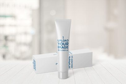 Mockup of a Long Cosmetic Tube and Its Packaging Box 2409-el1